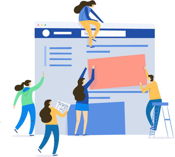 animated people stacking pictures to organize a webpage